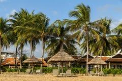 Парасоль Deckchairs на тропическом пляже лета Стоковые Фото