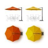 Парасоль зонтика салона кафа оранжевого желтого цвета внешний Стоковые Фото