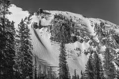 Парашюты лыжи зимы Teton Стоковая Фотография