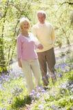 пара вручает держать outdoors сь гулять стоковое фото
