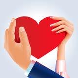 пара вручает красный цвет удерживания сердца Стоковая Фотография RF