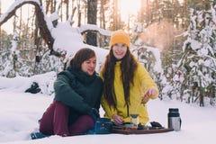 Пара выпивает чай в лесе зимы стоковые изображения