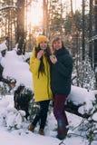 Пара выпивает чай в лесе зимы стоковые фотографии rf