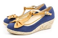 Пара голубого вскользь ботинка стоковые изображения rf