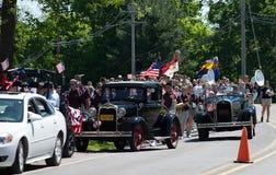 Парад Дня памяти погибших в войнах маленького города Стоковые Изображения