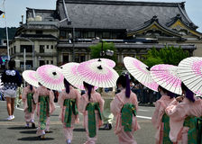 Парад девушек Maiko, сцена фестиваля Gion Стоковые Фотографии RF