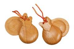 Пара деревянных испанских кастанетт Стоковые Изображения RF