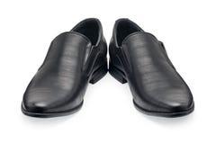 Пара классических черных кожаных ботинок для людей, без шнурка Стоковые Изображения