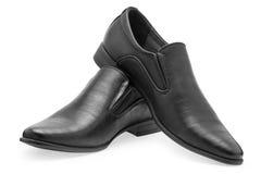 Пара классических черных кожаных ботинок для людей, без шнурка Стоковое Изображение