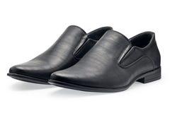 Пара классических черных кожаных ботинок для людей, без шнурка Стоковое фото RF