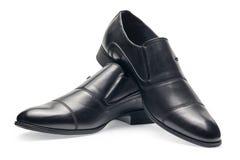 Пара классических черных кожаных ботинок для людей, без шнурка Стоковое Фото