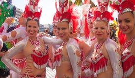 Парад масленицы 2015 пляжа Las Palmas de Gran Canaria на Las Стоковые Фото