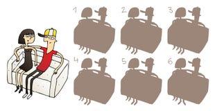 Пара на софе затеняет визуальную игру Стоковые Фотографии RF