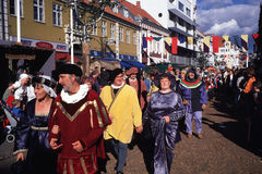 Парад на средневековом фестивале Стоковые Изображения RF