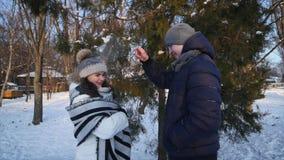 Пара обнимает в зиме в лесе девушка обидена и мальчик обнимает ее видеоматериал