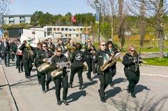 Парад оркестра женщины с аппаратурами Стоковое Изображение