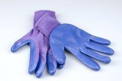 Пара перчаток сини и пурпура женщин садовничая на белизне Стоковое Изображение RF