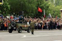 Парад победы в Донецке Военный парад предназначенный к семидесятому Стоковое фото RF
