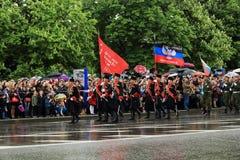 Парад победы в Донецке Военный парад предназначенный к семидесятому Стоковая Фотография RF