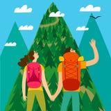 Пара путешественников смотря гору бесплатная иллюстрация