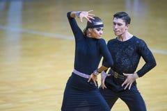 Пара танца выполняет программа взрослое латинское †«американская Стоковая Фотография RF