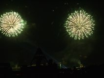 Пара цветков одновременно взорвала фейерверки против фона черного неба лета Стоковые Фото