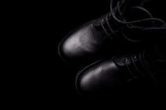 Пара черных ботинок армии Стоковая Фотография RF