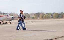 Пара шлямбуров после полета стоковое фото