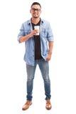Парень битника выпивая некоторое coffe Стоковая Фотография RF