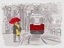 Парень и девушка ждут трамвай под зонтиком Городские пейзажи вены бесплатная иллюстрация