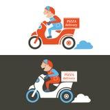 Парень поставки пиццы на самокате Изолированный вектор Стоковые Фотографии RF