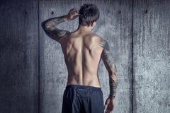 Парень спорта подходящий мышечный татуированный от задней части в космосе просторной квартиры стоковая фотография rf