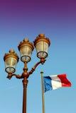 Парижский флаг фонарика и француза Стоковое Изображение