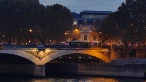 Париж к ноча, франция видеоматериал