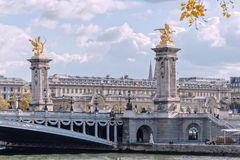 Париж, мост Александр III, Пегас Стоковое Фото