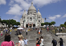 Париж, 17-ое июля: Базилика Sacre Coeur от Montmartre в Париже Стоковые Фото