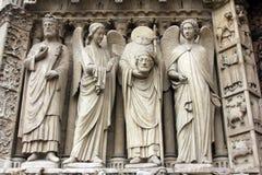 Париж, собор Нотр-Дам, портал девственницы Стоковые Изображения