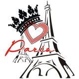Париж с влюбленностью и кроной иллюстрация вектора