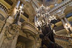 Париж, Франция, 31-ое марта 2017: Внутренний взгляд оперы национального de Парижа Garnier, Франции Оно было построено от 1861 к Стоковая Фотография