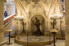 Париж, Франция, 31-ое марта 2017: Внутренний взгляд оперы национального de Парижа Garnier, Франции Оно было построено от 1861 к Стоковые Фото