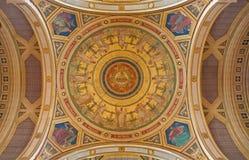 Париж - фреска от куполка церков Francois Xavier Святого - 12 4 больших пророков апостола и Чарльз-Иосиф Lameire Стоковая Фотография RF