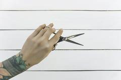 парикмахерскаь Нержавеющая сталь scissors волосы стоковое фото