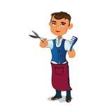 Парикмахеры усмехаясь и держа гребень с ножницами Стоковое фото RF