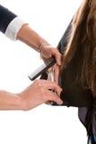 парикмахер волос вырезывания Стоковые Изображения