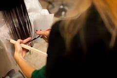 Парикмахер делая обработку волос к клиенту в салоне Стоковое Изображение