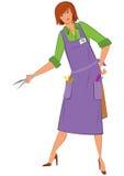 Парикмахер женщины шаржа с ножницами Стоковые Изображения RF