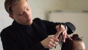 Парикмахер людей делая стиль причесок к девушке в салоне красоты видеоматериал