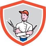 Парикмахер проводя шарж гребня ножниц Стоковые Фотографии RF