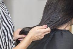 Парикмахер работая с красивыми волосами женщины в парикмахерские услуги sa Стоковая Фотография