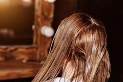Парикмахер с щеткой прикладывая маску к волосам ее клиента в парикмахерской красоты Процесс кератина выправляя, волосы стоковая фотография rf